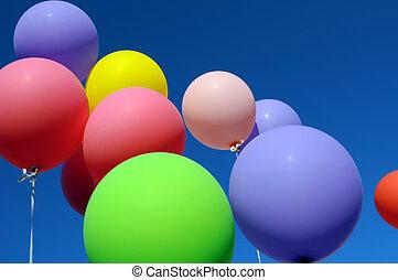 multicolored, balões, cidade, festival
