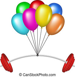 Multicolored balloons and barbell