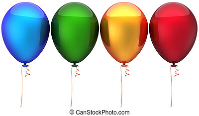 Multicolored balloons arranged in a row. Modern colorful party decoration. Positive holiday emotions. This is a detailed three-dimensional render 3d (Hi-Res). Isolated on white background