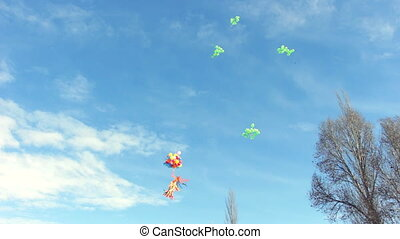 Multicolored balloons flying in blue sky