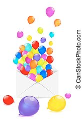 Multicolored balloons in the envelope isolated on white background.