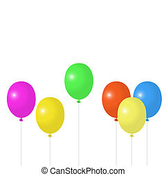 Multicolored balloons on a white background