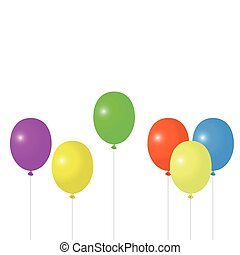 Multicolored balloons on a white ba