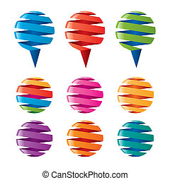 multicolored balloons twisted ribbons