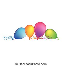 multicolored balloons with serpentine on the floor