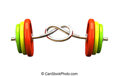 Multicolored barbell isolated on white background
