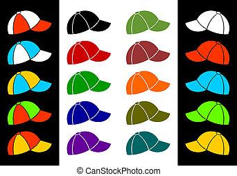 Multicolored baseball cap.