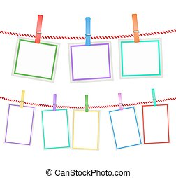 multicolored blank photo frames hanging on a rope with clothespins. vector