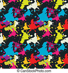 Multicolored blots pattern on black