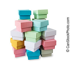 Multicolored boxes on a white background