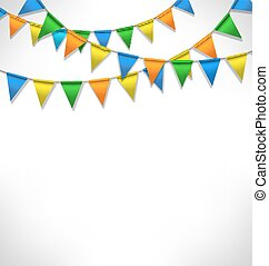 Multicolored bright buntings garlands on grayscale...