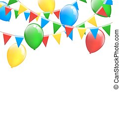 Multicolored bright buntings garlands with inflatable air...