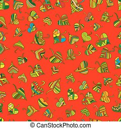 Multicolored, bright decorative leaves seamless pattern, ethnic style, vector hand drawing floral background, on red color background, rainbow leaf falling cartoon illustration.