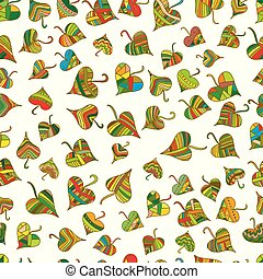 Multicolored, bright decorative leaves seamless pattern, ethnic