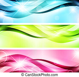 banner set - multicolored bright wavy banner set with stars