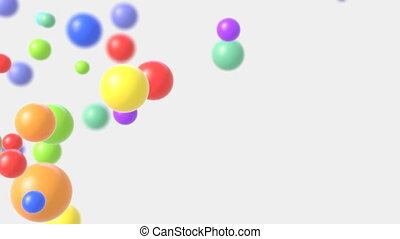Multicolored Bubbles Fly Up on a White Background. Beautiful Seamless Looped 3d Animation with a Depth of Field. Ultra HD 4K 3840x2160