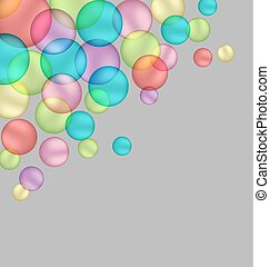 bubbles isolated on grey - Multicolored bubbles isolated on...