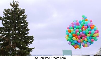 Multicolored bunch of balloons on the sky background