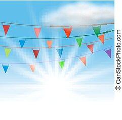 Multicolored Buntings Flags Garlands