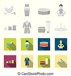 Multicolored burning candles, a pink robe with a yellow belt and a collar, a tube with cream and a jar with an ointment, a drop of water.Spa set collection icons in monochrome,flat style vector symbol stock illustration web.