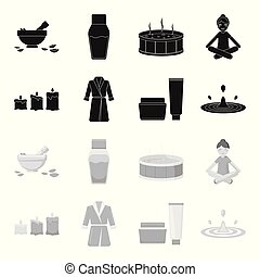 Multicolored burning candles, a pink robe with a yellow belt and a collar, a tube with cream and a jar with an ointment, a drop of water.Spa set collection icons in black,monochrome style vector symbol stock illustration web.