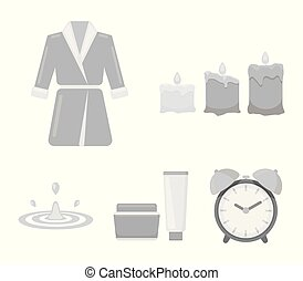 Multicolored burning candles, a pink robe with a yellow belt and a collar, a tube with cream and a jar with an ointment, a drop of water.Spa set collection icons in monochrome style vector symbol stock illustration web.