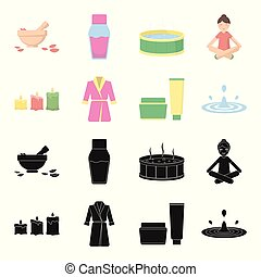 Multicolored burning candles, a pink robe with a yellow belt and a collar, a tube with cream and a jar with an ointment, a drop of water.Spa set collection icons in black,cartoon style vector symbol stock illustration web.