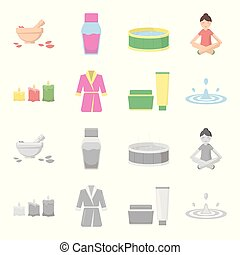 Multicolored burning candles, a pink robe with a yellow belt and a collar, a tube with cream and a jar with an ointment, a drop of water.Spa set collection icons in cartoon,monochrome style vector symbol stock illustration web.