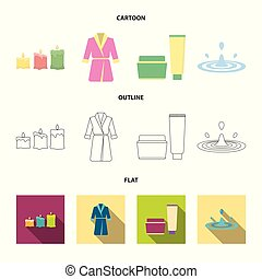 Multicolored burning candles, a pink robe with a yellow belt and a collar, a tube with cream and a jar with an ointment, a drop of water.Spa set collection icons in cartoon,outline,flat style vector symbol stock illustration web.