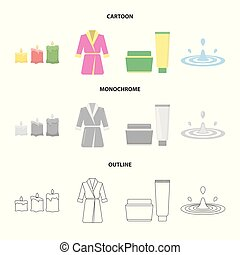 Multicolored burning candles, a pink robe with a yellow belt and a collar, a tube with cream and a jar with an ointment, a drop of water.Spa set collection icons in cartoon,outline,monochrome style vector symbol stock illustration web.