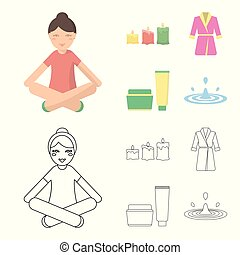 Multicolored burning candles, a pink robe with a yellow belt and a collar, a tube with cream and a jar with an ointment, a drop of water.Spa set collection icons in cartoon,outline style vector symbol stock illustration web.