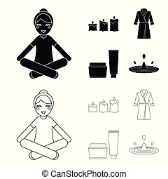 Multicolored burning candles, a pink robe with a yellow belt and a collar, a tube with cream and a jar with an ointment, a drop of water.Spa set collection icons in black,outline style vector symbol stock illustration web.