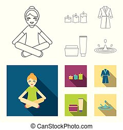 Multicolored burning candles, a pink robe with a yellow belt and a collar, a tube with cream and a jar with an ointment, a drop of water.Spa set collection icons in outline,flat style vector symbol stock illustration web.
