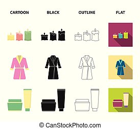 Multicolored burning candles, a pink robe with a yellow belt and a collar, a tube with cream and a jar with an ointment, a drop of water.Spa set collection icons in cartoon,black,outline,flat style vector symbol stock illustration web.