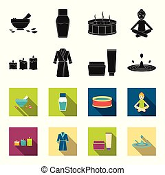 Multicolored burning candles, a pink robe with a yellow belt and a collar, a tube with cream and a jar with an ointment, a drop of water.Spa set collection icons in black,flet style vector symbol stock illustration web.