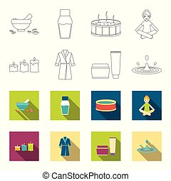 Multicolored burning candles, a pink robe with a yellow belt and a collar, a tube with cream and a jar with an ointment, a drop of water.Spa set collection icons in outline,flet style vector symbol stock illustration web.