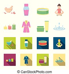 Multicolored burning candles, a pink robe with a yellow belt and a collar, a tube with cream and a jar with an ointment, a drop of water.Spa set collection icons in cartoon,flat style vector symbol stock illustration web.