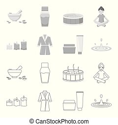 Multicolored burning candles, a pink robe with a yellow belt and a collar, a tube with cream and a jar with an ointment, a drop of water.Spa set collection icons in outline,monochrome style vector symbol stock illustration web.