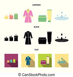 Multicolored burning candles, a pink robe with a yellow belt and a collar, a tube with cream and a jar with an ointment, a drop of water.Spa set collection icons in cartoon,black,flat style vector symbol stock illustration web.