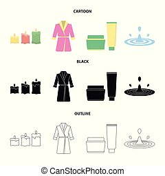Multicolored burning candles, a pink robe with a yellow belt and a collar, a tube with cream and a jar with an ointment, a drop of water.Spa set collection icons in cartoon,black,outline style vector symbol stock illustration web.