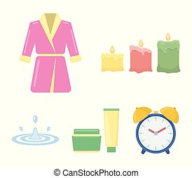 Multicolored burning candles, a pink robe with a yellow belt and a collar, a tube with cream and a jar with an ointment, a drop of water.Spa set collection icons in cartoon style vector symbol stock illustration web.