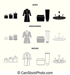 Multicolored burning candles, a pink robe with a yellow belt and a collar, a tube with cream and a jar with an ointment, a drop of water.Spa set collection icons in black,monochrome,outline style vector symbol stock illustration web.