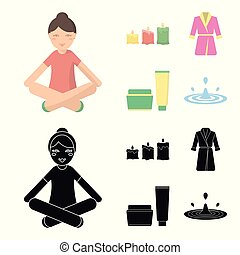 Multicolored burning candles, a pink robe with a yellow belt and a collar, a tube with cream and a jar with an ointment, a drop of water.Spa set collection icons in cartoon,black style vector symbol stock illustration web.