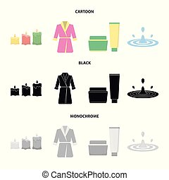 Multicolored burning candles, a pink robe with a yellow belt and a collar, a tube with cream and a jar with an ointment, a drop of water.Spa set collection icons in cartoon,black,monochrome style vector symbol stock illustration web.