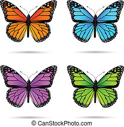 Vector illustration of multicolored butteflies