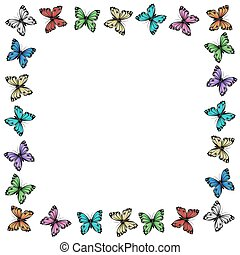 Multicolored butterflies frame