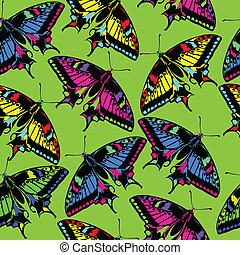 Multicolored butterflies. Seamless vector illustration.