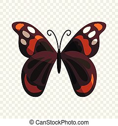 Multicolored butterfly icon, cartoon style