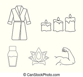 Multicolored candles with a flame, a blue robe with a belt, a lotus flower with petals, a bottle of cream. Spa set collection icons in outline style vector symbol stock illustration web.