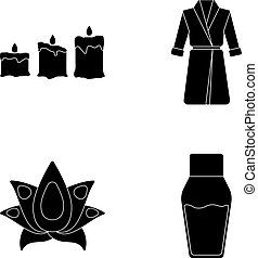 Multicolored candles with a flame, a blue robe with a belt, a lotus flower with petals, a bottle of cream. Spa set collection icons in black style vector symbol stock illustration web.